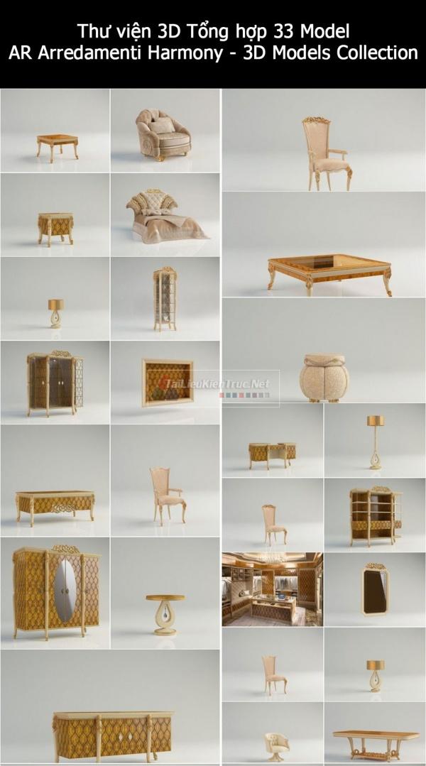Thư viện 3D tân cổ điển Tổng hợp 33 Model AR Arredamenti Harmony - 3D Models Collection chất lượng cao
