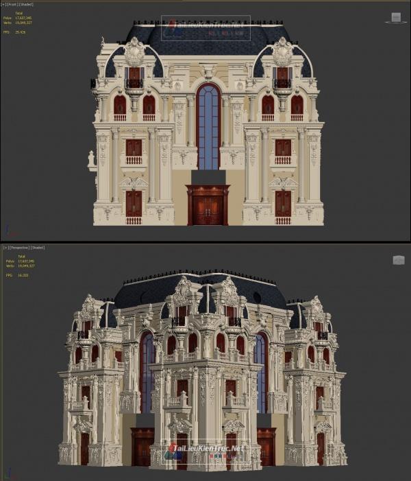 Phối cảnh 3d file 3dsmax Biệt thự lâu đài 3 tầng Tân cổ điển 00043 full