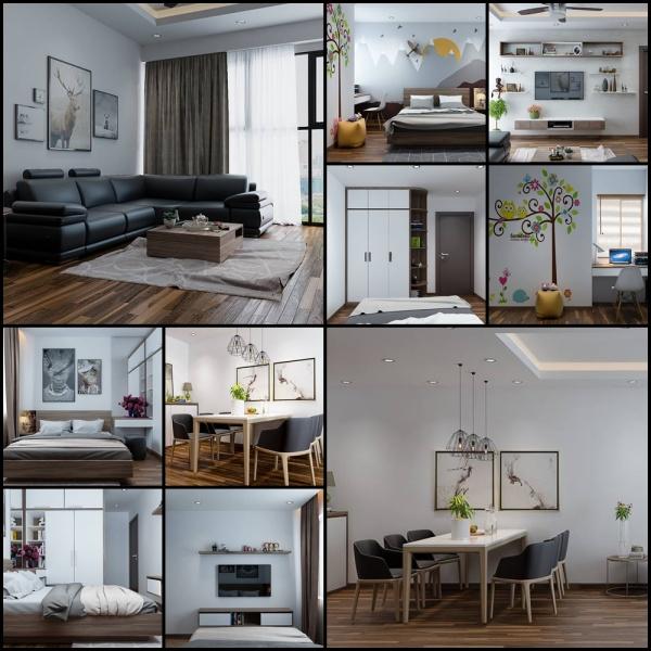 Phối cảnh nội thất 3D Max Nội thất chung cư gồm Phòng khách, Bếp ăn và phòng ngủ 00098