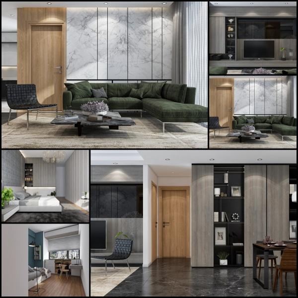 Phối cảnh nội thất 3D Max Nội thất chung cư gồm Phòng khách, Bếp ăn và phòng ngủ 00099