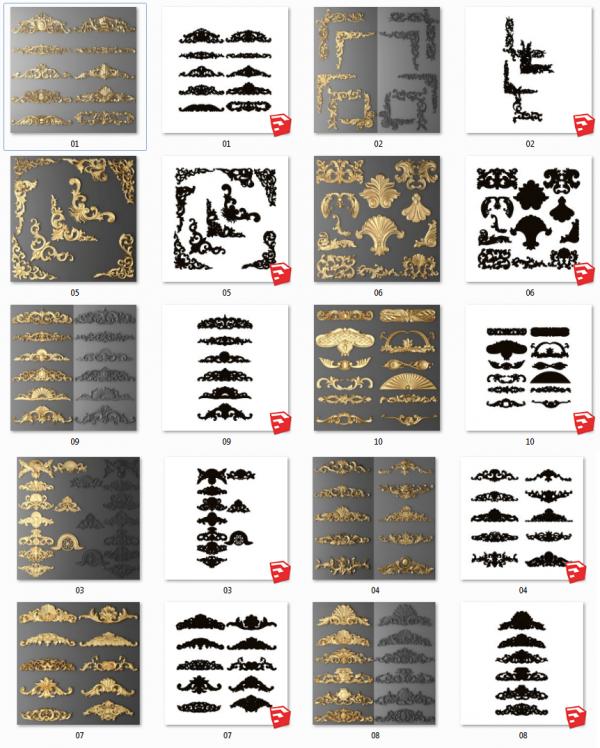Tổng hợp Thư viện 10 Model 3d chi tiết Phù điêu tân cổ điển mạ vàng file Sketchup full