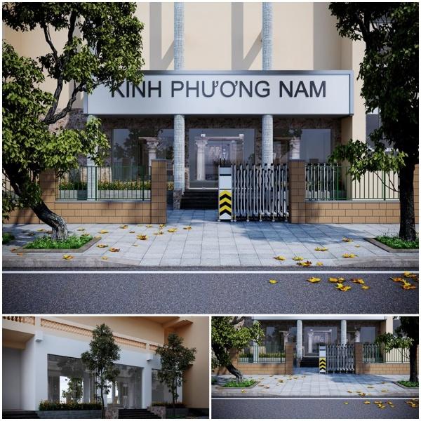Phối cảnh 3d ngoại thất Cổng công ty Kính Phương Nam MS04