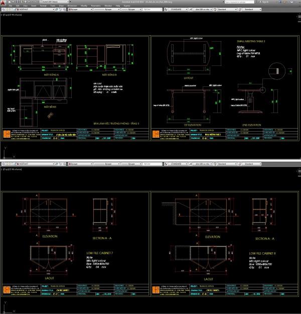 Hồ sơ thiết kế chi tiết bổ đồ nội thất văn phòng công ty M04