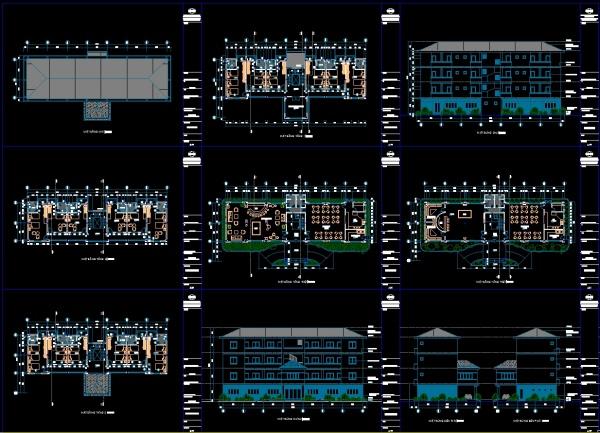 Hồ sơ thiết kế thi công nhà Ký túc xá công nhân 2 tầng diện tích 11,7x28,2m M12