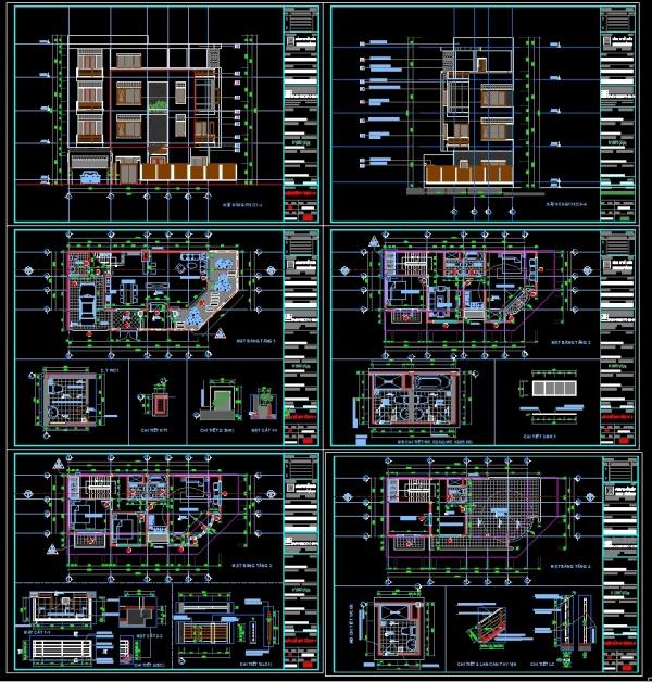 Hồ sơ thiết kế Nhà Phố liền kề 4 tầng trên khu đất diện tích 128m2 129 full kiến trúc và kết cấu
