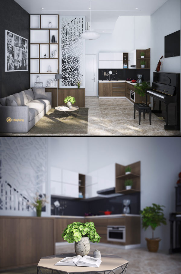 Phối cảnh nội thất 3D Max Nội thất Nhà phố Phòng khách, Bếp ăn tầng 1 MS 00100