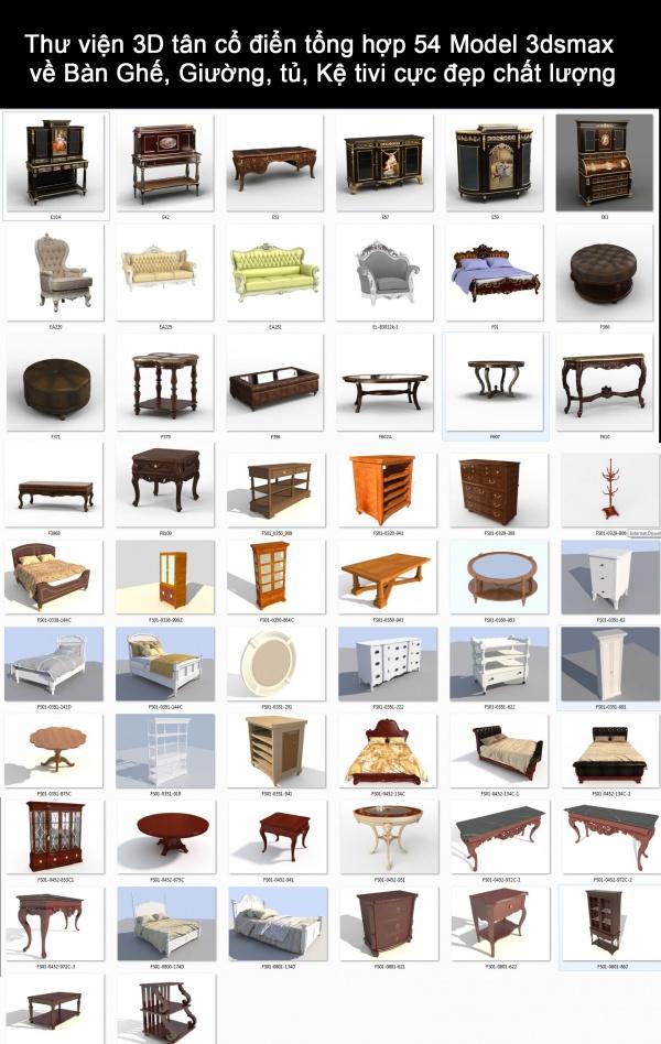 Thư viện 3D tân cổ điển tổng hợp 54 Model 3dsmax về Bàn Ghế, Giường, tủ, Kệ tivi cực đẹp chất lượng