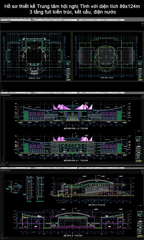 Hồ sơ thiết kế Trung tâm hội nghị Tỉnh với diện tích 89x124m 3 tầng full kiến trúc, kết cấu, điện nước