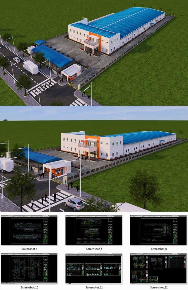 Hồ sơ thiết kế thi công nhà máy Dorien Hàn Quốc diện tích 47x129m full Bản vẽ kiến trúc, kết cấu, điện nước