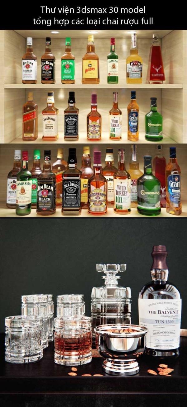 Thư viện 3dsmax 30 model  tổng hợp các loại chai rượu full