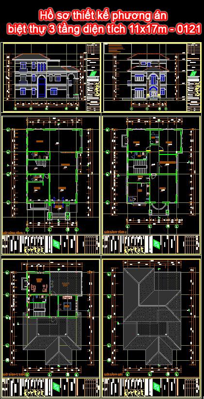 Hồ sơ thiết kế phương án biệt thự 3 tầng diện tích 11x17m - 0121