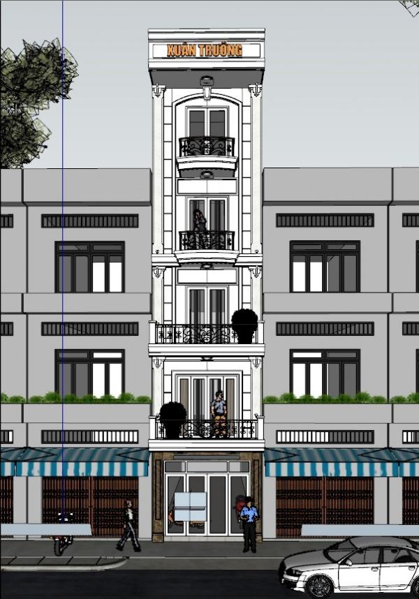 Thư viện 3d Sketchup Phối cảnh công trình Nhà phố 5 tầng phong cách pháp cổ 041