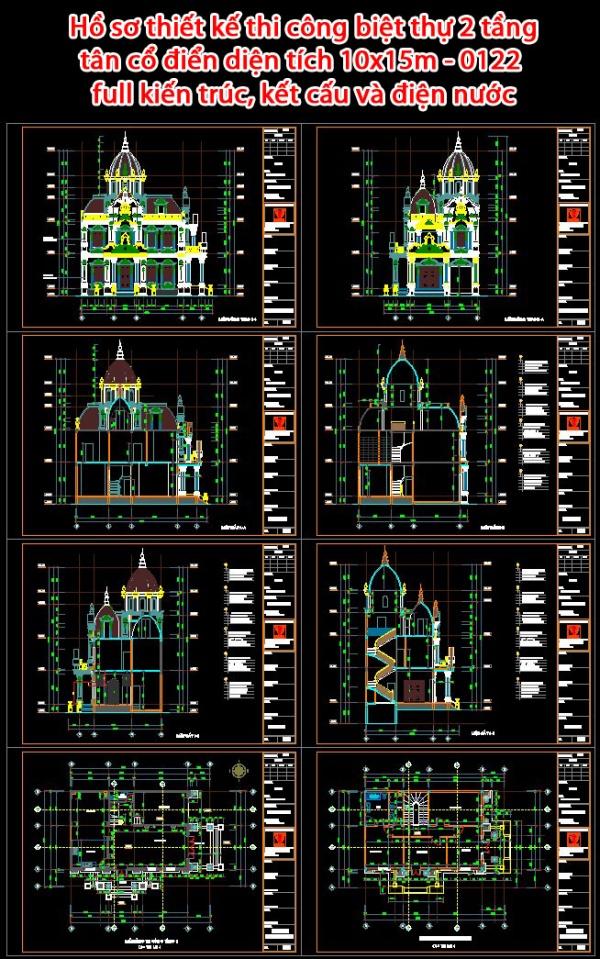 Hồ sơ thiết kế thi công biệt thự tân cổ điển 2 tầng diện tích 10x15m - 0122 full kiến trúc, kết cấu và điện nước