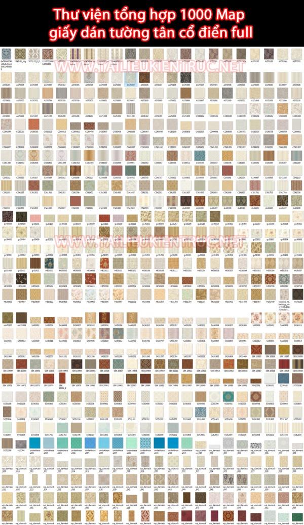 Thư viện tổng hợp 1000 Map  giấy dán tường tân cổ điển full