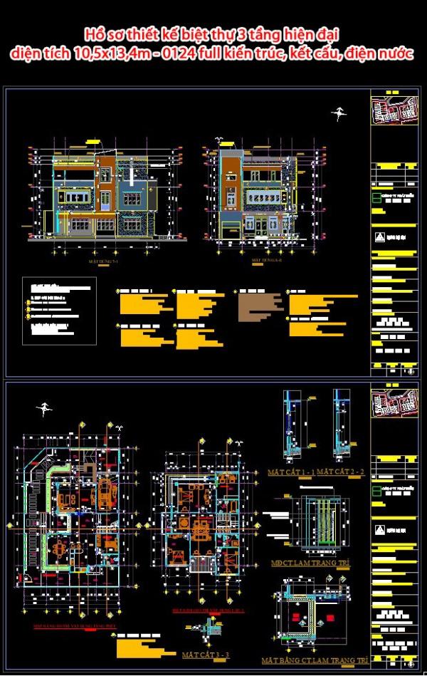 Hồ sơ thiết kế biệt thự 3 tầng hiện đại diện tích 10,5x13,4m - 0124 full kiến trúc