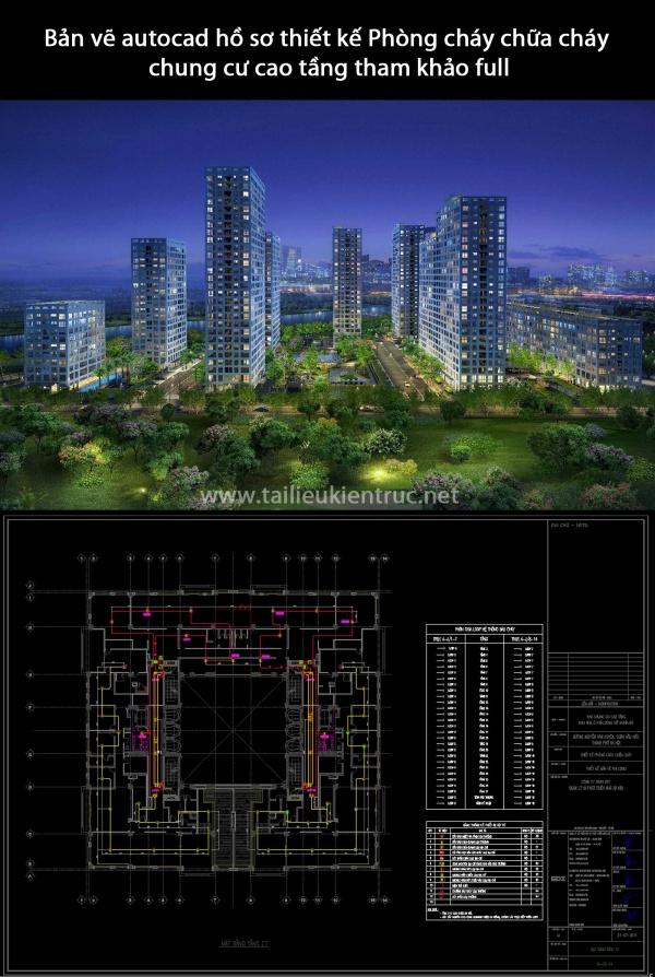 Bản vẽ autocad hồ sơ thiết kế Phòng cháy chữa cháy chung cư cao tầng tham khảo full