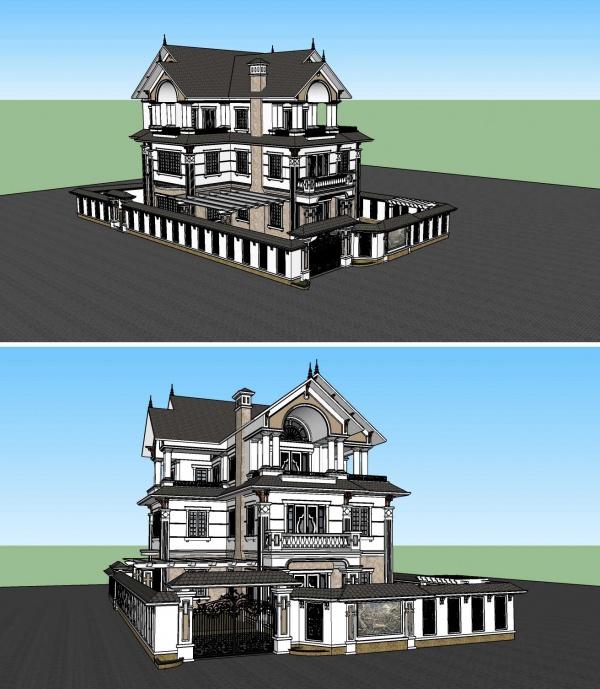Phối cảnh 3d file Sketchup Biệt thự 3 tầng Tân cổ điển đẹp 00046