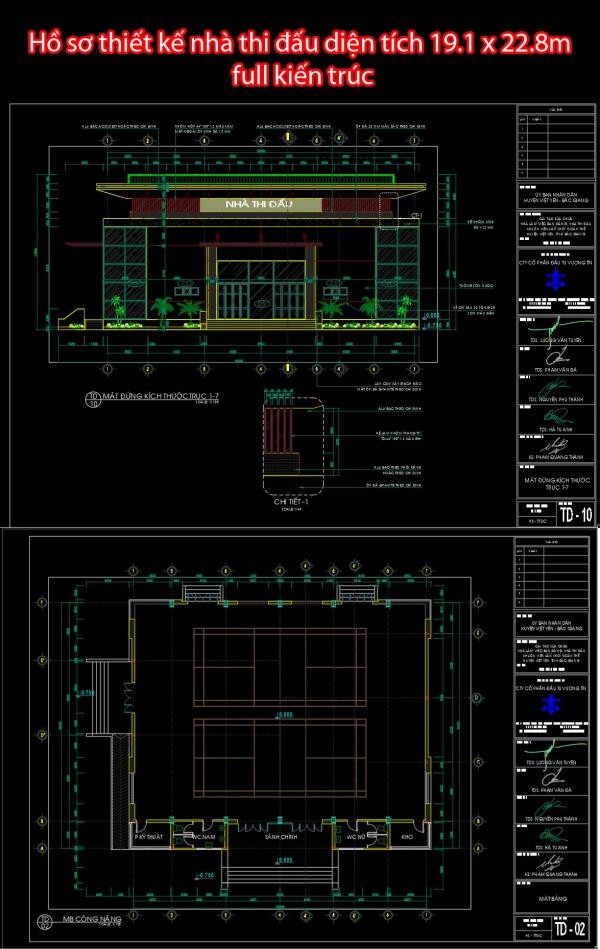Hồ sơ thiết kế nhà thi đấu diện tích 19.1 x 22.8m full kiến trúc