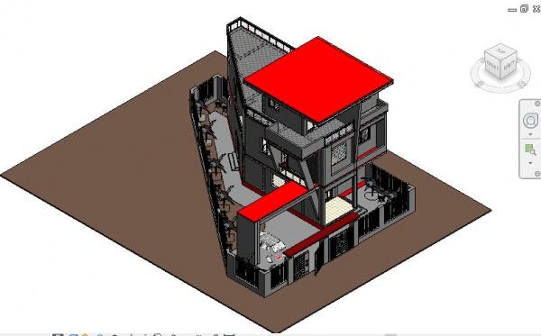 Hồ sơ thiết kế Biệt thự 3 tầng trên đất xéo tam giác file Revit