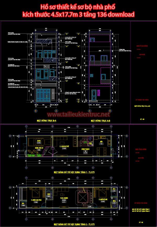 Hồ sơ thiết kế sơ bộ nhà phố kích thước 4.5x17.7m 3 tầng 136 download