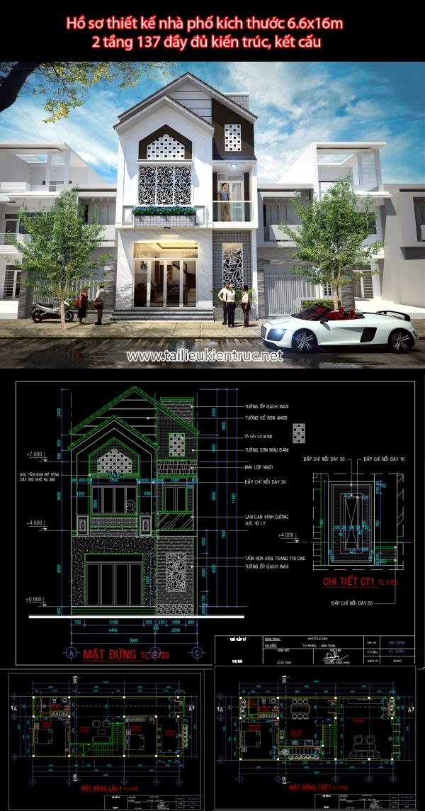 Hồ sơ thiết kế nhà phố kích thước 6.6x16m 2 tầng 137 đầy đủ kiến trúc, kết cấu