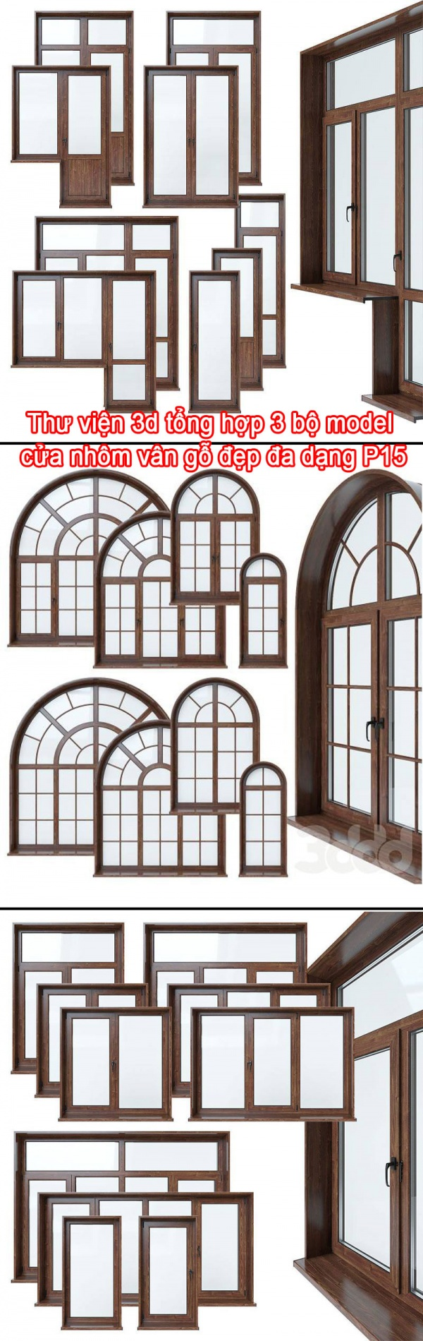 Thư viện 3d tổng hợp 3 bộ model cửa khung nhôm kính vân gỗ đẹp đa dạng P15