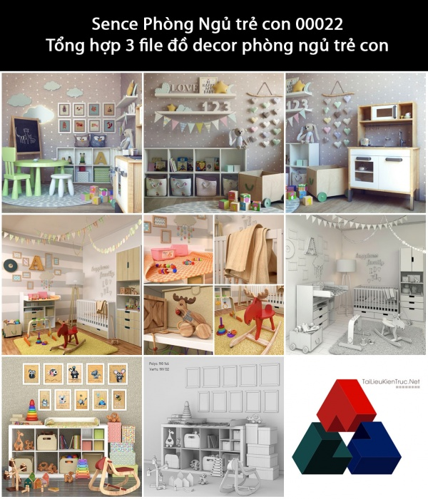 Sence Phòng Ngủ trẻ con 00022 - Tổng hợp 3 file đồ decor phòng ngủ trẻ con