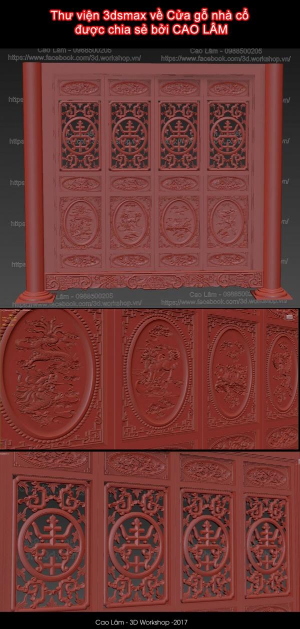 Thư viện 3dsmax về cửa gỗ nhà cổ được chia sẻ bởi CAO LÂM