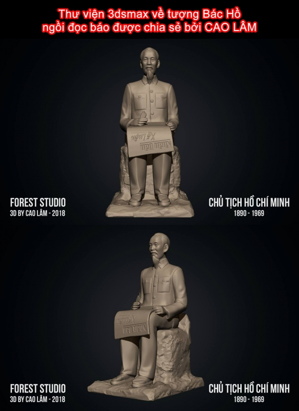 Thư viện 3dsmax về tượng Bác Hồ ngồi đọc báo được chia sẻ bởi CAO LÂM