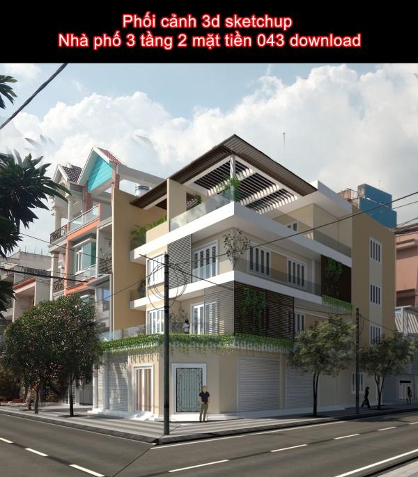 Phối cảnh 3d sketchup Nhà phố 3 tầng 2 mặt tiền 043 download