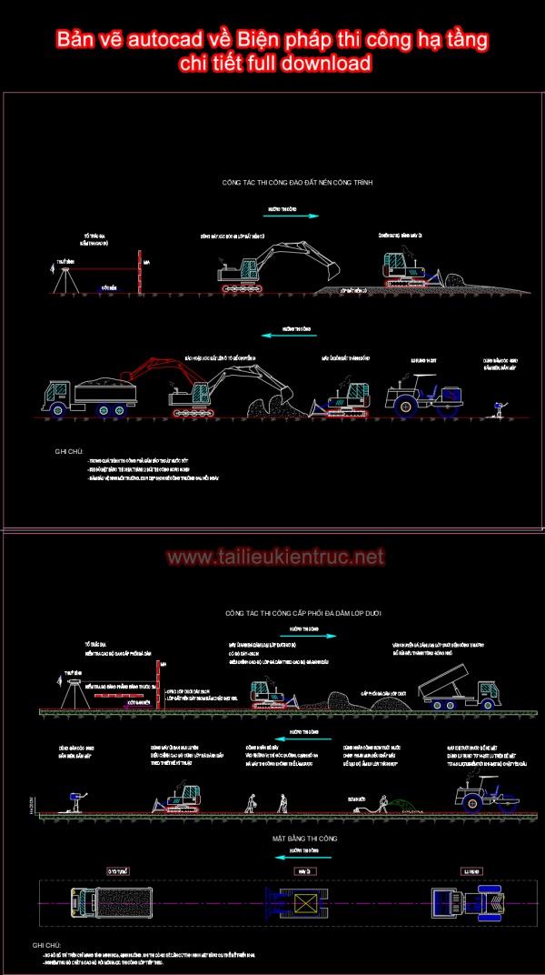 Bản vẽ autocad về Biện pháp thi công hạ tầng chi tiết full download