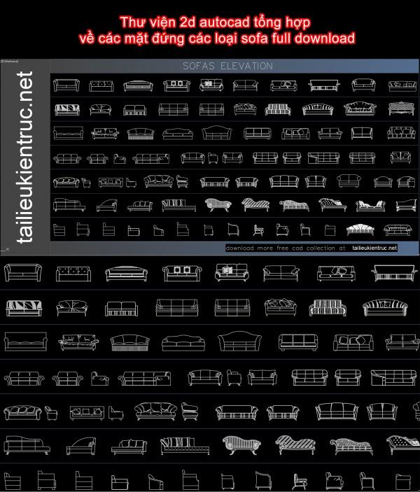 Thư viện 2d autocad tổng hợp về các mặt đứng các loại sofa full download