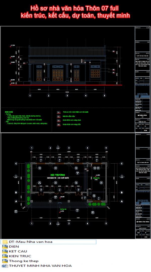 Hồ sơ nhà văn hóa Thôn 07 full kiến trúc, kết cấu, dự toán, thuyết minh