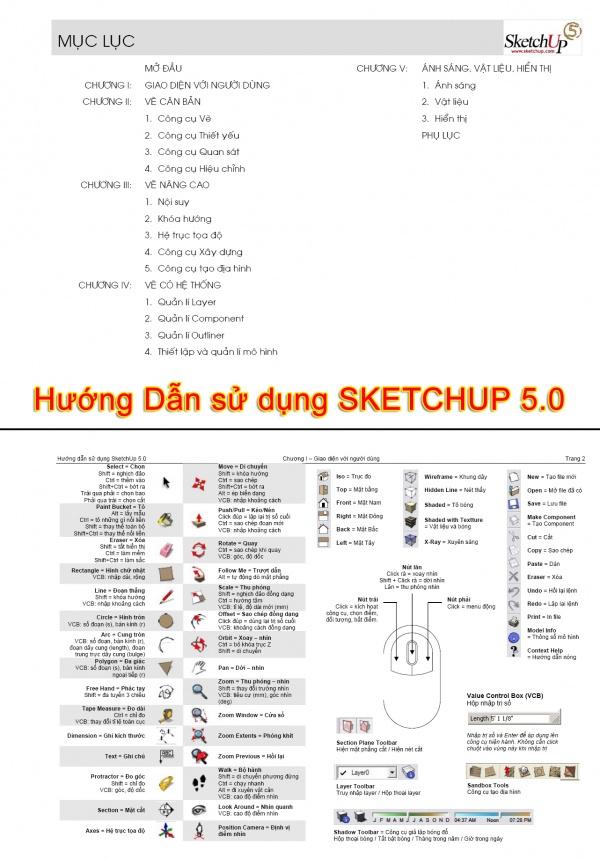 Giáo trình Hướng dẫn sử dụng Sketchup 5.0 full download