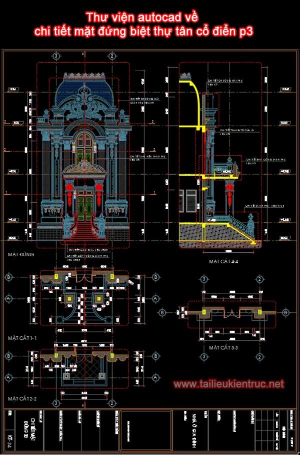 Thư viện autocad về chi tiết mặt đứng biệt thự tân cổ điển p3