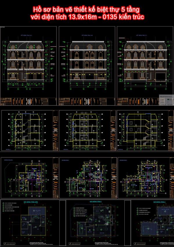 Hồ sơ bản vẽ thiết kế biệt thự 5 tầng với diện tích 13.9x16m - 0135 kiến trúc