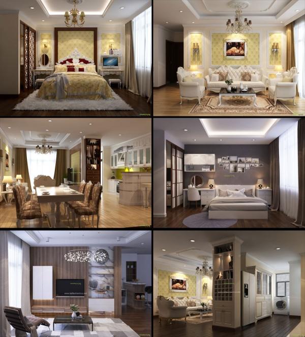 Phối cảnh 3d nội thất file sketchup phòng khách, bếp ăn, phòng ngủ parkhill 102 full download
