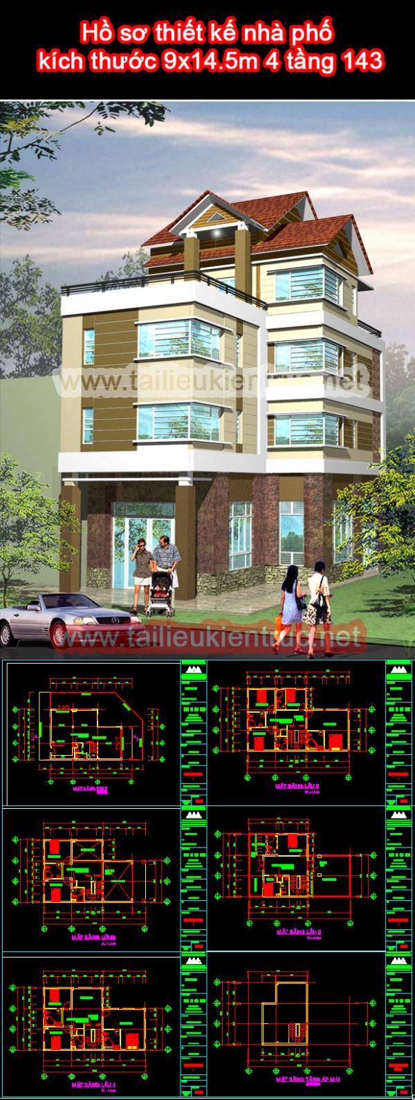 Hồ sơ thiết kế nhà phố kích thước 9x14.5m 4 tầng 143