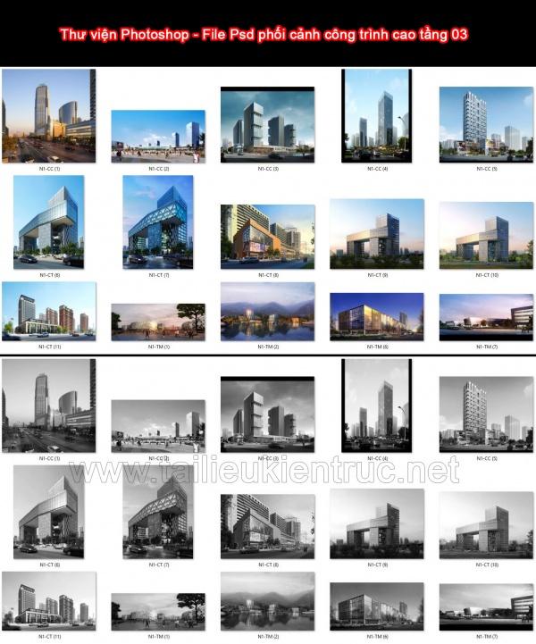 Thư viện Photoshop - File Psd phối cảnh công trình cao tầng 03