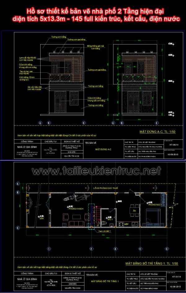 Hồ sơ thiết kế bản vẽ nhà phố 2 Tầng hiện đại diện tích 5x13.3m - 145 full kiến trúc, kết cấu, điện nước