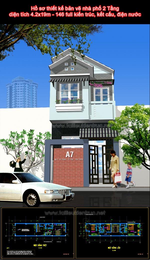 Hồ sơ thiết kế bản vẽ nhà phố 2 Tầng diện tích 4.2x19m - 146 full kiến trúc, kết cấu, điện nước