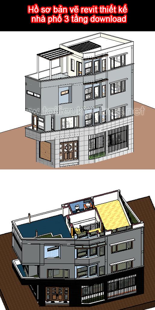 Hồ sơ bản vẽ revit thiết kế nhà phố 3 tầng download