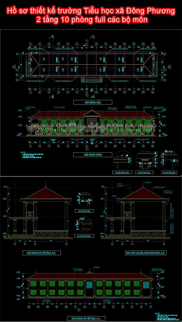 Hồ sơ thiết kế trường Tiểu học xã Đông Phương 2 tầng 10 phòng full các bộ môn