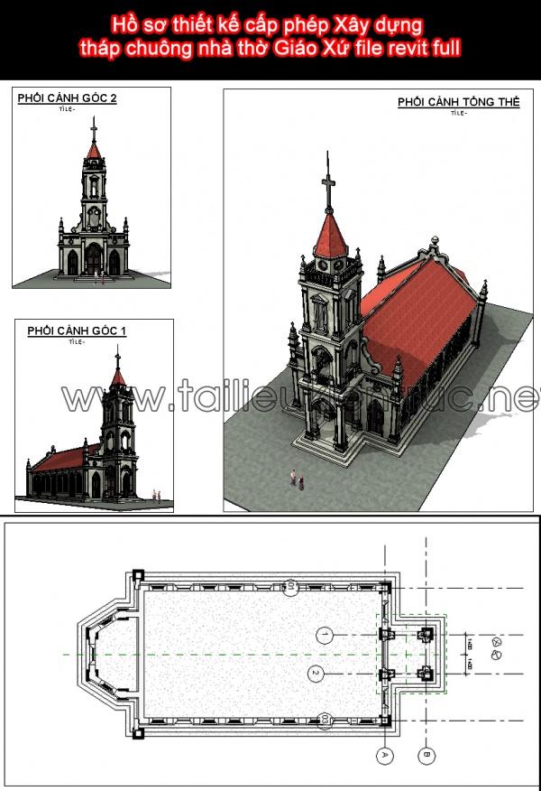 Hồ sơ thiết kế cấp phép Xây dựng tháp chuông nhà thờ Giáo Xứ file revit full