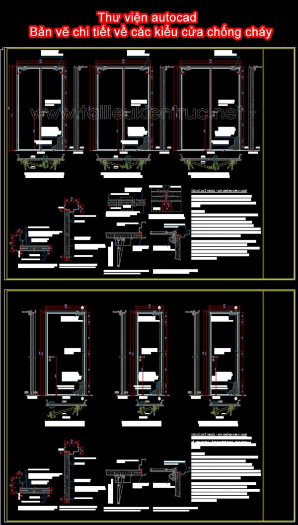 Thư viện autocad - Bản vẽ chi tiết về các kiểu cửa chống cháy