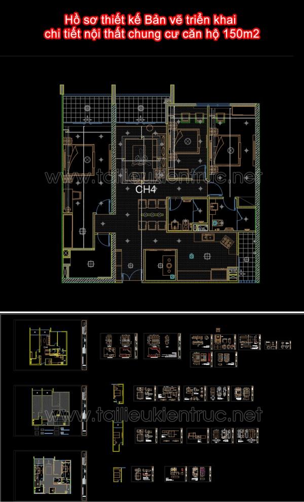Hồ sơ thiết kế Bản vẽ triển khai chi tiết nội thất chung cư căn hộ 150m2