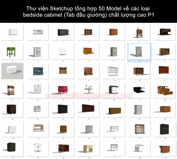 Thư viện Sketchup tổng hợp 50 Model về các loại bedside cabinet (Tab đầu giường) chất lượng cao P1