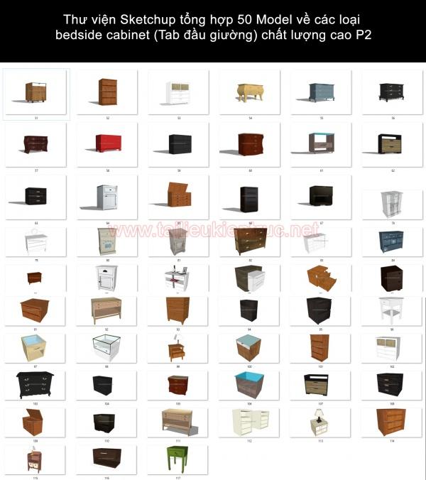 Thư viện Sketchup tổng hợp 50 Model về các loại bedside cabinet (Tab đầu giường) chất lượng cao P2