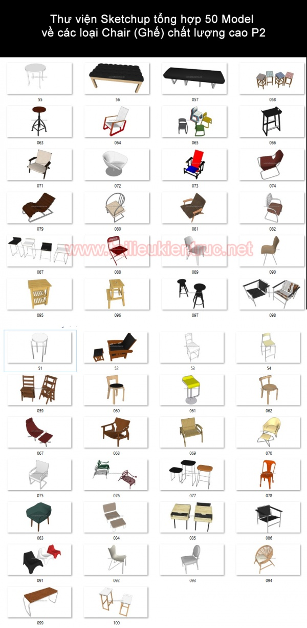 Thư viện Sketchup tổng hợp 50 Model về các loại Chair (Ghế) chất lượng cao P2