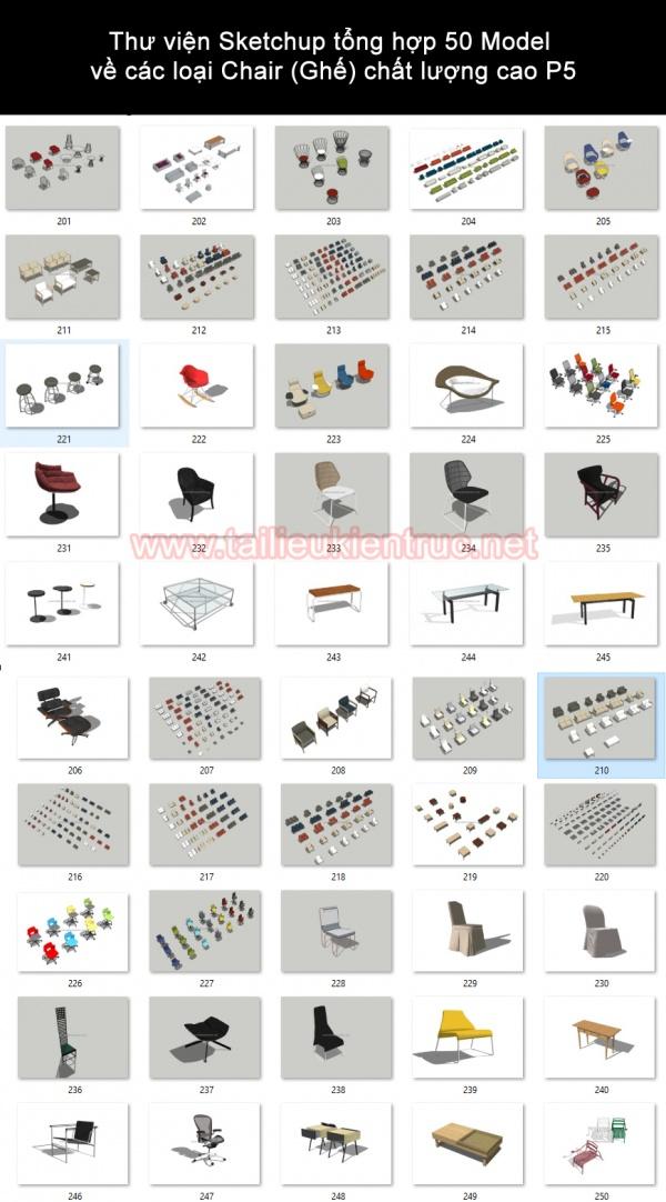 Thư viện Sketchup tổng hợp 50 Model về các loại Chair (Ghế) chất lượng cao P5